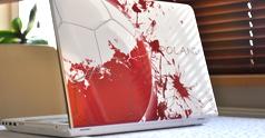 Naklejka na laptopa, artystyczna flaga Polski/piłka - skin Morpho